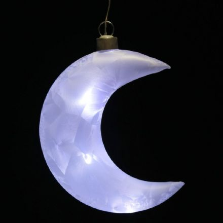 Frosted White Hanging Moon LED Light Up Decoration